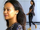 """Picture Shows: Zoe Saldana  May 04, 2015    'Avatar' actress, Zoe Saldana, is spotted out running errands in Century City, California.     Earlier today Zoe and husband, Marco Perego, posted a picture of them holding up a """"Star Wars"""" DVD for """"Star Wars"""" Day - May the 4th.     Exclusive - All Round  UK RIGHTS ONLY    Pictures by : FameFlynet UK © 2015  Tel : +44 (0)20 3551 5049  Email : info@fameflynet.uk.com"""