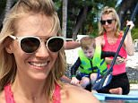 Picture Shows: Xander Jones, January Jones  May 06, 2015\n \n 'Mad Men' actress January Jones enjoys a day on the beach in Hawaii with her parents and her son Xander. January kept her son safe with a green life vest while the pair explored the ocean on a paddle board. Later, January helped Xander bury his grandpa in the sand! \n \n Exclusive All Rounder\n UK RIGHTS ONLY\n Pictures by : FameFlynet UK © 2015\n Tel : +44 (0)20 3551 5049\n Email : info@fameflynet.uk.com