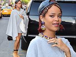 Rihanna was spotted out in SoHo on Wednesday, visiting the Bowery Hotel for a fashion meeting. She wore a grey sweatshirt cape, black leather baseball cap and construction boots. She had a big smile on her face as she headed inside.\n\nPictured: Rihanna\nRef: SPL1018978  060515  \nPicture by: 247PAPS.TV / Splash News\n\nSplash News and Pictures\nLos Angeles: 310-821-2666\nNew York: 212-619-2666\nLondon: 870-934-2666\nphotodesk@splashnews.com\n