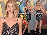 Mandatory Credit: Photo by Stewart Cook/REX Shutterstock (4760816c)  Rosie Huntington-Whiteley  'Mad Max: Fury Road' film premiere, Los Angeles, America - 07 May 2015