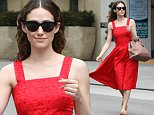 """Picture Shows: Emmy Rossum  May 06, 2015\n \n """"Shameless"""" star Emmy Rossum proves to be just that as she shamelessly jaywalks across the street while running errands in Beverly Hills, California. Fortunately Emmy was wearing a bright red dress that would be impossible for any motorist to miss.\n \n Non Exclusive\n UK RIGHTS ONLY\n \n Pictures by : FameFlynet UK © 2015\n Tel : +44 (0)20 3551 5049\n Email : info@fameflynet.uk.com"""