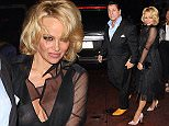 West Hollywood, CA - Pamela Anderson left little to the imagination as she stepped out with former 'Sons of Anarchy' star Chuck Zito at Rainbow Bar & Grill in West Hollywood.  The 47-year-old actress had a wardrobe malfunction as she went bra-less in a sheer black dress. Pamela and Chuck held hands as they headed out into the Sunset Strip. AKM-GSI          May 7, 2015 To License These Photos, Please Contact : Steve Ginsburg (310) 505-8447 (323) 423-9397 steve@akmgsi.com sales@akmgsi.com or Maria Buda (917) 242-1505 mbuda@akmgsi.com ginsburgspalyinc@gmail.com