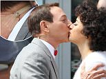 136864, Paul Reubens aka Pee-Wee Herman rides a horse-drawn carriage while filming 'Pee-Wee's Big Holiday in Manhattan's South Street Seaport area. Paul seems to have a Neck Lift by wearing a neck patch to pull back extra skin. New York, New York - Friday May 8, 2015. Photograph: LGjr-RG, © PacificCoastNews. Los Angeles Office: +1 310.822.0419 sales@pacificcoastnews.com FEE MUST BE AGREED PRIOR TO USAGE