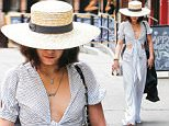 Picture Shows: Vanessa Hudgens  May 10, 2015\n \n Shy actress Vanessa Hudgens is spotted out and about in New York City, New York. Vanessa was in no mood for photos and used her large hat to hide her face. \n \n Non-Exclusive\n UK RIGHTS ONLY\n \n Pictures by : FameFlynet UK © 2015\n Tel : +44 (0)20 3551 5049\n Email : info@fameflynet.uk.com