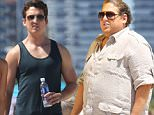 Jonah Hill and Miles Teller on set filming 'Arms and Dudes'\nFeaturing: Miles Teller, Ana de Armas\nWhere: Miami, Florida, United States\nWhen: 09 May 2015\nCredit: WENN.com