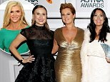 SYDNEY, AUSTRALIA - MARCH 12:  Members from Real Housewives Melbourne Jackie Gillies, Chyka Keebaugh, Lydia Schiavello, Janet Roach, Gamble Breaux, Gina Liano and Pettifleur Berenger pose with the award for Channel Achievement on behalf of Arena at the 2015 ASTRA Awards at the Star on March 12, 2015 in Sydney, Australia.  (Photo by Caroline McCredie/Getty Images for the ASTRA Awards)