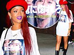 EXCLUSIVE: Rihanna was spotted leaving Lucky Strike Bowling Alley in NYC, after spending the night bowling with her pals. She wore only a white long tee shirt, and knee high leather boots as she left the Midtown location. She accented her beautiful red locks with a red beret and purple lipstick from Free Spirits Cosmetics.\n\nPictured: Rihanna\nRef: SPL1021566  110515   EXCLUSIVE\nPicture by: 247PAPS.TV / Splash News\n\nSplash News and Pictures\nLos Angeles: 310-821-2666\nNew York: 212-619-2666\nLondon: 870-934-2666\nphotodesk@splashnews.com\n