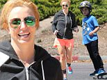 Sunday, May 10, 2015 - Britney Spears breaks a sweat on Mother's Day at Drenched Fitness in Thousand Oaks wearing shorts and a sweatshirt while her kids Jayden James and Sean Preston are at the skate park