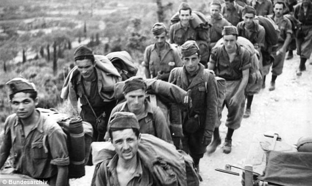 Executed: Platoon commander Alfred Stork allegedly ordered the execution of 117 Italian officers of the Acqui Division (pictured) on the Greek island of Cephalonia in 1943