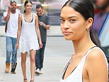 EXCLUSIVE TO INF...May 5th , 2015: Austrailian model Shanina Shaik photographed taking a walk in a short white dress today in New York City this afternoon...Mandatory Credit: INFphoto.com Ref.: infusny-279