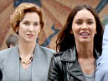 Megan Fox and Judith Hoag, who played the original April O'Neil were seen filming a scene with Will Arnett at the 'Teenage Mutant Ninja Turtles 2' movie set in Times Square, Manhattan.  Pictured: Megan Fox and Judith Hoag Ref: SPL1020660  110515   Picture by: Jose Perez / Splash News  Splash News and Pictures Los Angeles: 310-821-2666 New York: 212-619-2666 London: 870-934-2666 photodesk@splashnews.com