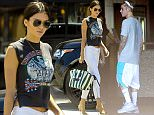 UK CLIENTS MUST CREDIT: AKM-GSI ONLY EXCLUSIVE: Justin Bieber hitches a ride with Kendall Jenner and Hailey Baldwin, from Equinox gym in Woodland Hills, following an afternoon workout on Mothers' day.  A sweaty Justin hopped into Kendall's Range Rover with Hailey Baldwin and her broken foot.  The trio headed for the Kardashian crib in Calabasas for a Mothers' day dinner together.  Pictured: Hailey Baldwin and Justin Bieber Ref: SPL1022639  100515   EXCLUSIVE Picture by: AKM-GSI / Splash News