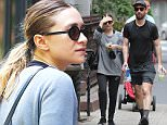 New York, NY - Actress and businesswoman Ashley Olsen is spotted walking with a good friend in the West Village after a sweaty gym session.  The petite blonde had her hair pulled back in a ponytail and was decked in gym attire as she covered her face. \nAKM-GSI        May 10, 2015\nTo License These Photos, Please Contact :\nSteve Ginsburg\n(310) 505-8447\n(323) 423-9397\nsteve@akmgsi.com\nsales@akmgsi.com\nor\nMaria Buda\n(917) 242-1505\nmbuda@akmgsi.com\nginsburgspalyinc@gmail.com