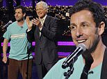 NEW YORK - MAY 12: Adam Sandler performs a very special musical tribute for Dave on the Late Show with David Letterman, Tuesday May 12, 2015 on the CBS Television Network. (Photo by Jeffrey R. Staab/CBS via Getty Images)