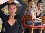 New York, NY - Rising supermodel Bella Hadid and gal pal Scout Willis were spotted dining al fresco in Soho on Monday afternoon, enjoying the warm NYC weather. Both young starlets went fresh-faced without makeup as Scout tried to stay cool by fanning herself with a fan.  AKM-GSI          May 11, 2015 To License These Photos, Please Contact : Steve Ginsburg (310) 505-8447 (323) 423-9397 steve@akmgsi.com sales@akmgsi.com or Maria Buda (917) 242-1505 mbuda@akmgsi.com ginsburgspalyinc@gmail.com