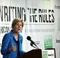 """WASHINGTON, DC - MAY 12:  Sen. Elizabeth Warren (D-MA) speaks about the release of a new report authored by Nobel-prize winning economist Joseph Stiglitz published by the Roosevelt Institute May 12, 2015 in Washington, DC. The report, titled """"New Economic Agenda for Growth and Shared Prosperity"""", discusses the current distribution of wealth in the U.S. and offers proposals for modifying that distribution.  (Photo by Win McNamee/Getty Images)"""