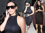 Kim Kardashian's nipples poke through her black dress as the reality darling returns to LA following her trip to  Brazil. May 12, 2015 X17online.com