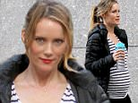 """Leslie Mann seen wearing a pregnancy bump as she films a scene on the """"How to be Single"""" movie set in the 'Giggle' Baby Store in Uptown, Manhattan.\n\nPictured: Leslie Mann\nRef: SPL1023945  120515  \nPicture by: Jose Perez\n\nSplash News and Pictures\nLos Angeles: 310-821-2666\nNew York: 212-619-2666\nLondon: 870-934-2666\nphotodesk@splashnews.com\n"""