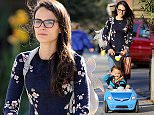EXCLUSIVE: Jordana Brewster takes her little man out in his toy car to lunch at A Votre Sante.  Pictured: Jordana Brewster Ref: SPL1023857  120515   EXCLUSIVE Picture by: / Splash News  Splash News and Pictures Los Angeles: 310-821-2666 New York: 212-619-2666 London: 870-934-2666 photodesk@splashnews.com