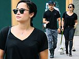 Demi Lovato and boyfriend Wilmer Valderrama were spotted having a romantic lunch at New York City hot spot La Esquina located in the Soho neighborhood. The couple couldn't take their eyes off each other and were seen conversating while enjoying their mexican lunch. The singer was also seen playing with and taking pictures of her cute little white pooch. After lunch the couple was seen walking there dog before heading back to their hotel.  Pictured: Demi Lovato, Wilmer Valderrama Ref: SPL1024086  130515   Picture by: Sharpshooter Images / Splash   Splash News and Pictures Los Angeles: 310-821-2666 New York: 212-619-2666 London: 870-934-2666 photodesk@splashnews.com