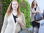 """© Licensed to London News Pictures. 13/05/2015.  L-R  Moderator: Rachel Botsman, Lily Cole Founder of www.impossible.com. Sam Stephens Founder of www.streetbank.com  and Ivo Gormeley Founder of www.goodgym.org. Pregnant Lily Cole arriving at at Said Business School Park in Oxford, UK  to take part in a panel talking to aspiring entrepeneurs titled """"Trust Me, I'm a Stranger"""" Photo credit: Richard Cave/LNP"""