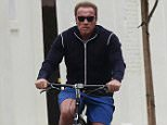 COLEMAN-RAYNER, Venice, CA, USA  May 13th, 2015.  Recently single Patrick Schwarzenegger enjoys some time with his friends as he rode around Venice on a bicycle today. Patrick's dad Arnold joined the group half way before all heading to Golds Gym for a workout.  CREDIT LINE MUST READ: Coleman-Rayner. Tel US (001) 310-474-4343- office Tel US (001) 323-545-7584 - Mobile www.coleman-rayner.com