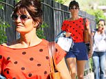 Helena Christensen wears an orange polka dotted shirt in NYC.\n\nPictured: Helena Christensen\nRef: SPL1026148  140515  \nPicture by: XactpiX/Splash News\n\nSplash News and Pictures\nLos Angeles: 310-821-2666\nNew York: 212-619-2666\nLondon: 870-934-2666\nphotodesk@splashnews.com\n