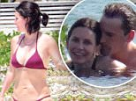 Exclusive... 51741238 Engaged couple Courteney Cox and Johnny McDaid enjoy a day poolside while on vacation in Cancun, Mexico on May 14, 2015. The pair had some drinks in the pool before heading out to the beach for a stroll and a little relaxation. FameFlynet, Inc - Beverly Hills, CA, USA - +1 (818) 307-4813