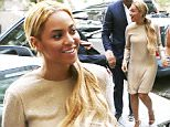 May 13, 2015: Beyonce in a gold dress and ponytail seen heading to an event in New York City.\nMandatory Credit: INFphoto.com Ref.: infusny-283