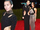 """NEW YORK, NY - MAY 04:  Miley Cyrus and Zoe Kravitz attend the """"China: Through The Looking Glass"""" Costume Institute Benefit Gala at the Metropolitan Museum of Art on May 4, 2015 in New York City.  (Photo by Dimitrios Kambouris/Getty Images)"""