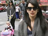 May 15, 2015: Alec Baldwin and Hilaria Baldwin take daughter Carmen for a stroll in a car shaped stroller while walking their dogs in New York City.\nMandatory Credit: INFphoto.com Ref.: infusny-283