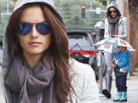 15.MAY.2015 - SANTA MONICA - USA\n*STRICTLY AVAILABLE FOR UK AND GERMANY USE ONLY*\n** EXCLUSIVE ALL ROUND PICTURES **\nSUPERMODEL ALESSANDRA AMBROSIO WEARS A HOODIE TO PROTECT HERSELF FROM THE RAIN WHILE HER SON NOAH CARRIES HIS OWN UMBRELLA TO SCHOOL IN SANTA MONICA\nBYLINE MUST READ : XPOSUREPHOTOS.COM\n***UK CLIENTS - PICTURES CONTAINING CHILDREN PLEASE PIXELATE FACE PRIOR TO PUBLICATION ***\n*UK CLIENTS MUST CALL PRIOR TO TV OR ONLINE USAGE PLEASE TELEPHONE 0208 344 2007*\n