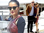 May 15, 2015: Salma Hayek and her husband, Henri Pinault, are seen posing for the cameras today in Cannes, France. Mandatory Credit: Ref.: inffr-01