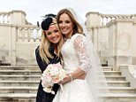 WOBURN, ENGLAND - MAY 15:  (EXCLUSIVE COVERAGE) (PREMIUM PRICES APPLY) Emma Bunton and Geri Halliwell During the marriage of Geri Halliwell and Christian Horner at Woburn Abbey on May 15, 2015 in Woburn, England.  (Photo by Joshua Lawrence/Getty Images)