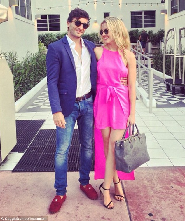 Pretty in pink: Caggie Dunlop has  been sharing images of herself on holiday with boyfriend Scott Sullivan