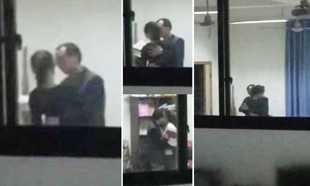 Chinese teacher sacked after student films him kissing female student