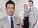 """IMAGE DISTRIBUTED FOR GOOGLE PLAY - EXCLUSIVE - Actor Jon Hamm, right, and actress January Jones explore """"The Mad Men Experience"""" from Google Play at the TV Academy's """"Farewell to Mad Men"""" event at The Montalban Theater on Sunday, May 17, 2015 in Hollywood, Calif. (Photo by Dan Steinberg/Invision for Google Play/AP Images)"""