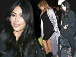 Please contact X17 before any use of these exclusive photos - x17@x17agency.com   Kim Kardashian striking in black at night  May 16, 2015 X17online.com