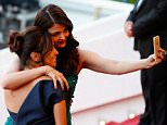 """CANNES, FRANCE - MAY 17:  Actresses Eva Longoria and Aishwarya Rai pose for a selfie at the Premiere of """"Carol"""" during the 68th annual Cannes Film Festival on May 17, 2015 in Cannes, France.  (Photo by Tristan Fewings/Getty Images)"""