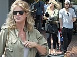 Rachel Hunter went shopping with son Liam and his girlfriend in West Hollywood.....Pictured: Rachel Hunter,Liam Stewart. ..Ref: SPL1023359  160515  ..Picture by: JLM / Splash News....Splash News and Pictures..Los Angeles: 310-821-2666..New York: 212-619-2666..London: 870-934-2666..photodesk@splashnews.com..