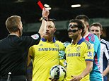 epa04755838 Referee Mike Jones (L) sends-off Chelsea's Cesc Fabregas (C) for kicking the ball at him during an on-pitch dispute during the English Premiership league soccer match between West Bromwich Albion and Chelsea at the Hawthorns stadium in Birmingham, Britain, 18 May 2015.  EPA/LINDSEY PARNABY DataCo terms and conditions apply http//www.epa.eu/downloads/DataCo-TCs.pdf