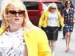 NEW YORK, NY - MAY 18:  Dakota Johnson and Rebel Wilson are seen filming 'How To Be Single' at Bloomingdale's on May 18, 2015 in New York City.  (Photo by Alessio Botticelli/GC Images)