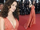 Actress Andie MacDowell poses for photographers as she arrives for the screening of the film Inside Out at the 68th international film festival, Cannes, southern France, Monday, May 18, 2015. (AP Photo/Lionel Cironneau)