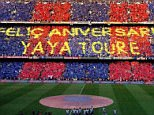 A post from William Hill shows a 'gesture' of best wishes from Toure's former club Barcelona in Spanish