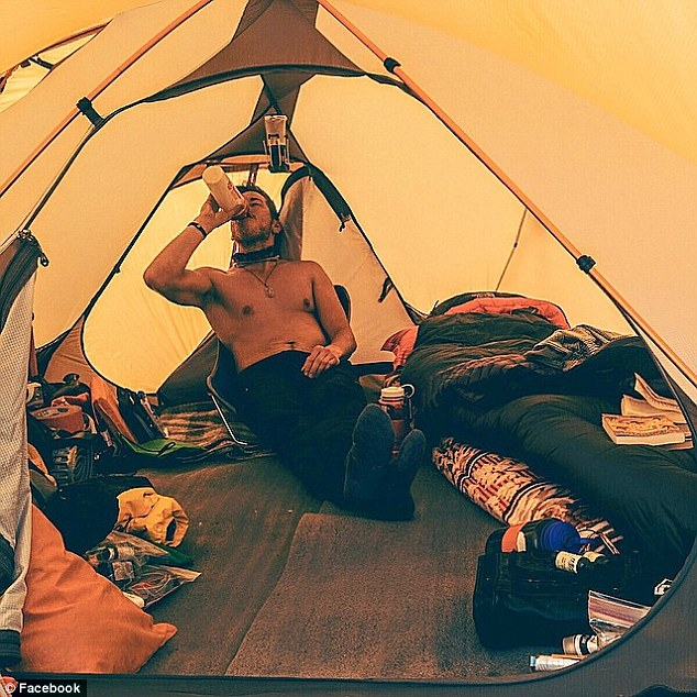 He uploaded a picture of himself relaxing in his tent on Day 16 of his trip