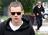 UK CLIENTS MUST CREDIT: AKM-GSI ONLY EXCLUSIVE: Harry Styles steps out for morning breakfast with a friend at BLD restaurant after attending the Billboard Music Awards last night.  Harry took a coffee to go after little sleep as he appeared to just get out of bed wearing a sweatshirt with track pants and his hair pulled back in a man bun.  Pictured: Harry Styles Ref: SPL1030461  180515   EXCLUSIVE Picture by: AKM-GSI / Splash News