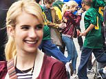 Emma Roberts acting as a high school sports photographer on the set of the movie 'Nerve' in Staten Island, New York\nFeaturing: Emma Roberts\nWhere: New York City, New York, United States\nWhen: 19 May 2015\nCredit: WENN.com