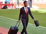 epa04751486 Liverpool's Raheem Sterling arrives at Anfield before the English Premier League soccer match between Liverpool and Crystal Palace at the Anfield in Liverpool, Britain, 16 April 2015.  EPA/PETER POWELL DataCo terms and conditions apply  http://www.epa.eu/files/Terms%20and%20Conditions/DataCo_Terms_and_Conditions.pdf