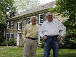 Bill Novak, right, and partner Norman MacArthur pose for a photograph at the couple's home, Friday, May 22, 2015, in Erwinna, Pa. The couple who were legally recognized as father and son has gotten a judge to vacate the adoption now that same-sex partners can get married in Pennsylvania. (AP Photo/Matt Slocum)