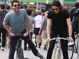 Mandatory Credit: Photo by Startraks Photo/REX Shutterstock (4786629i)  Zachary Quinto and Miles McMillan  Zachary Quinto and Miles McMillan out and about, New York, America - 22 May 2015  Zachary Quinto and Miles McMillan having bicycle problems in Soho